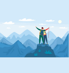 mountain hiking tourists standing on top hill vector image