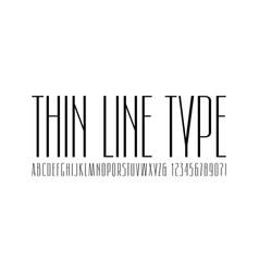 Narrow sans serif font thin line typeface vector
