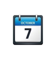 October 7 Calendar icon flat vector