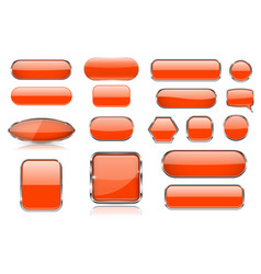 orange glass buttons collection of 3d icons with vector image