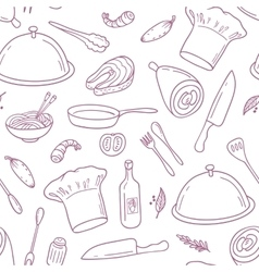 Outline seamless pattern with hand drawn food vector image