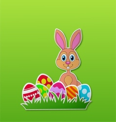 Paper card with rabbit and Easter egg vector image