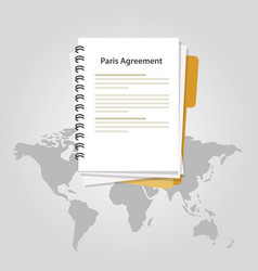 Paris agreement climate accord paper document vector