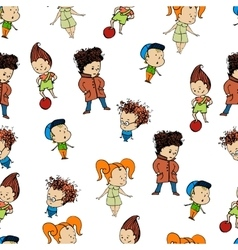 pattern a group of childrenr baby design child vector image