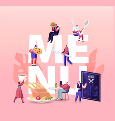 people visiting cafe hospitality concept tiny vector image
