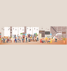 People work in office coworking workspace vector