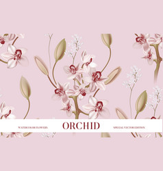 pink ochid tender background realistic floral vector image