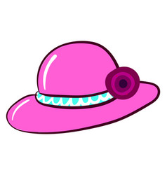 pink woman hat on white background vector image