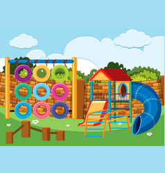 playground scene with climbing station and slides vector image