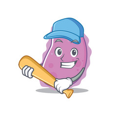 Playing baseball bacteria character cartoon style vector