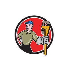 Plumber Presenting Monkey Wrench Circle Cartoon vector
