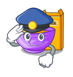 Police cereal box in a cartoon bowl vector