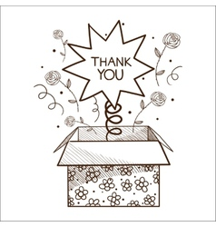 Present box with thank you sign vector
