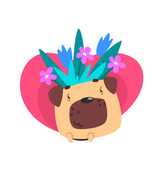 Pug dog with bouquet of flowers and pink heart vector