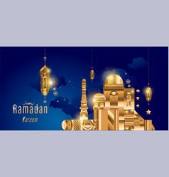 Ramadan kareem arabic calligraphy and traditional vector