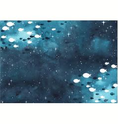 school fish are swimming on night sky vector image
