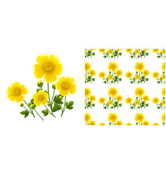 seamless background design with yellow flowers vector image
