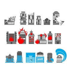 Set building disasters destruction Flood and fire vector image vector image