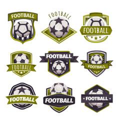 set logos emblems on theme soccer vector image