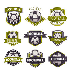 Set of logos emblems on the theme of soccer vector