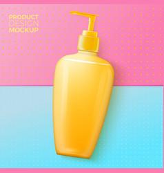 Shampoo pump bottle on paper background vector