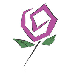 simple purple flower with gren leaves on white vector image