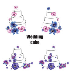 Sketch trending wedding cakes with colored vector