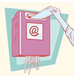 Spam the mailbox and a paper shredder vector image