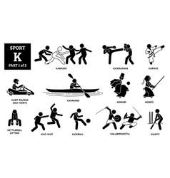 Sport games alphabet k icons pictograph kabaddi vector