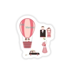 Stylish concept paper sticker groom bride wedding vector