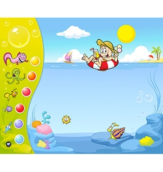 Summer holiday website design with funny vector