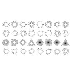 sun line burst circles light rays and star shine vector image