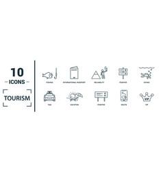 Tourism icon set include creative elements visa vector