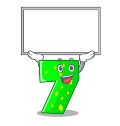 Up board character paper cut number seven letter vector