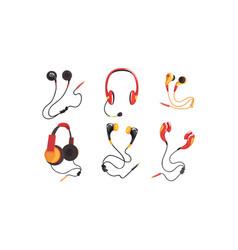 various types headphones and earphones vector image