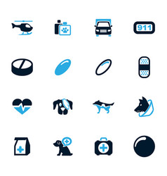 veterinary clinic icons set vector image