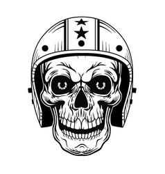 Vintage skull in helmet vector