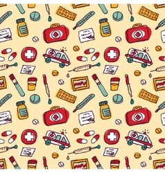 Wallpaper medical objects color seamless pattern vector