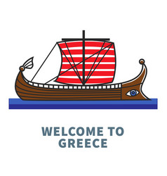 Welcome to greece promotional poster with long vector