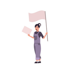 woman protester holding blank placard and flag vector image
