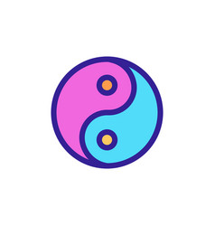 Yin yang icon isolated contour symbol vector