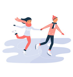 young boy and girl skating on ring holding hands vector image