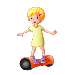 Young girl riding a electric scooter vector