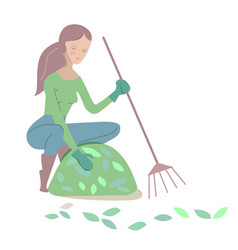Young woman rakes leaves in summer isolated vector