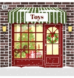 Christmas Toy shop toy store building facade vector image vector image