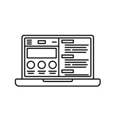 laptop or notebook computer with website flat icon vector image