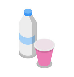 plastic bottle and cup isometric 3d icon vector image vector image