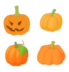 pumpkin icon set cartoon style vector image