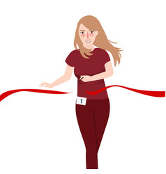 running girl win race pass red ribbon vector image vector image