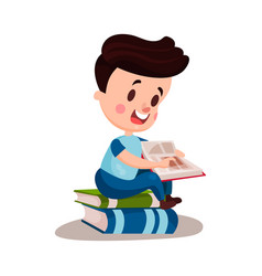 cute boy reading a book sitting on a pile of books vector image vector image